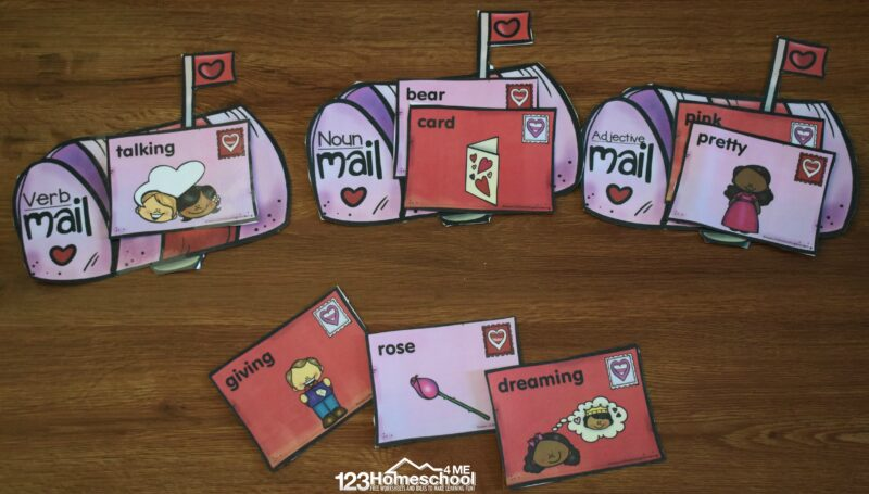 FREE Parts of Speech Valentine Mail Sorting | 123 Homeschool