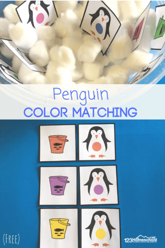 Penguin Color Matching Activity - these free printable matching cards are a great way for toddler, preschool, and kindergarten age kids to learn their colors with a cute winter theme #colors #colorrecognition #penguins #wintertheme #preschool #toddler #kindergarten