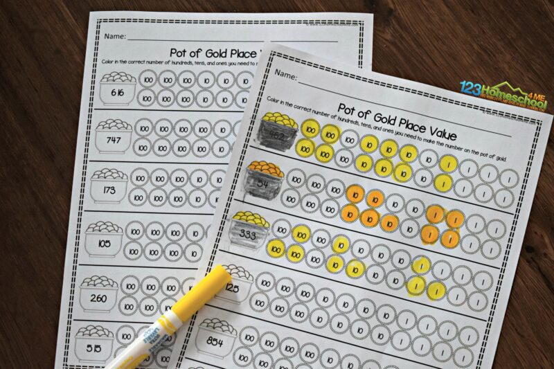 pot-of-gold-place-value-worksheets
