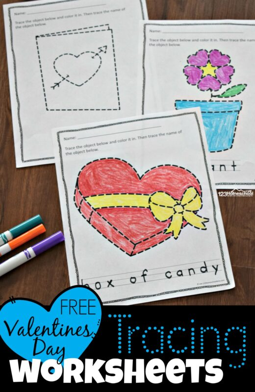 FREE Valentine's Day Tracing Worksheets For Preschoolers