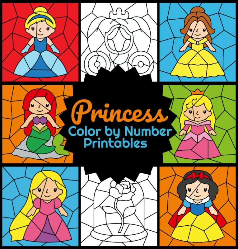 princess-color-by-number-printables