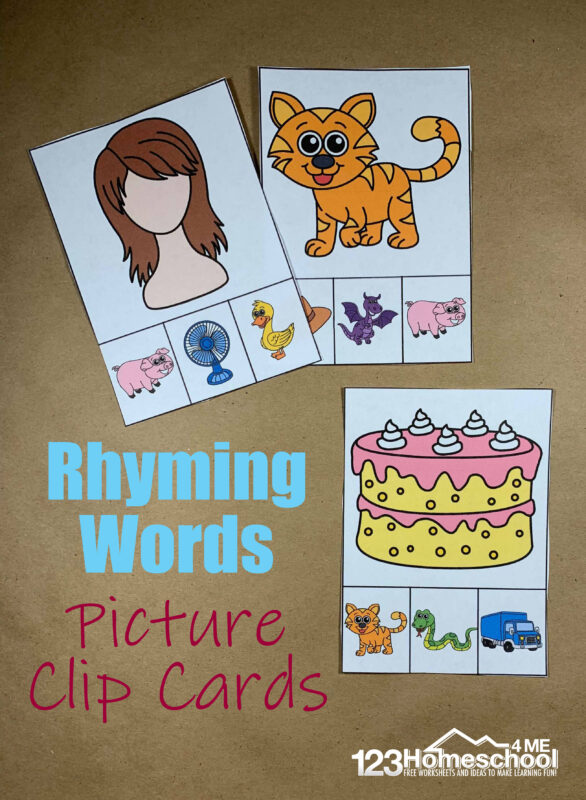 FREE Rhyming Picture Clip Cards - this free printable literacy activity is great for early readers who will practice rhyming words for kids with these clip cards. Perfect for literacy centers for preschool and kindergarten age kids #rhyming #kindergarten #litearcy