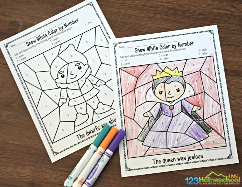 snow-white-color-by-number-printables