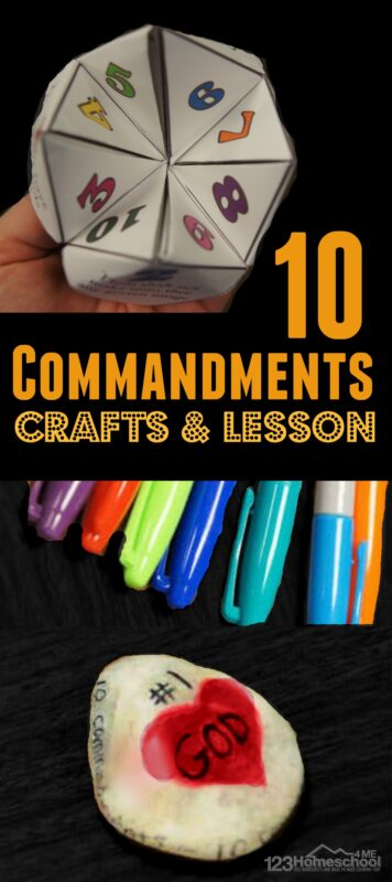 Ten Commandments for Kids - includes 10 commandments crafts including FREE 10 comandments cootie catcher and lesson idea for Sunday School classes #bible #sundayschool #craftsforkids