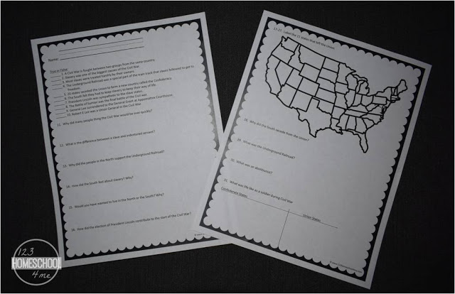 the civil war worksheets