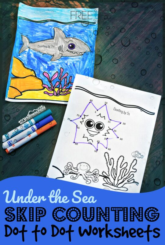 Make practicing skip counting fun with these super cute, free printable, Under the Sea skip counting dot to dot. This skip counting math worksheets are such a clever way to practice counting by 2s, counting by 3s, counting by 4s, counting by 5s, and counting by 10s with children. As pre-k, kindergarten, first grade, 2nd grade, and 3rd grde students connect the dots they will not only practice skip counting, but will finish a cute ocean themed page to color as well. Simply download pdf file with skip counting dot to dot free printables and you are ready to play and learn!