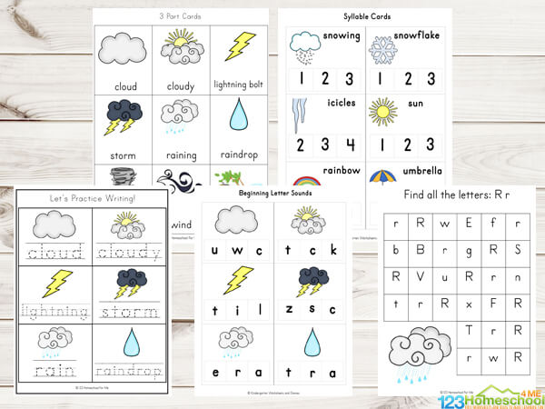 graphic about Printable Weather known as Totally free Temperature Printable Pack 123 Homeschool 4 Me