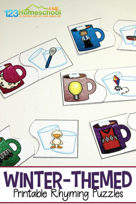 FREE Winter Rhyming Puzzles - these super cute hot chocolate and marshmallow rhyming puzzles are such a fun way for preschool, kindergarten, and first grade kids to practice this early phonics and reading activity #rhyming #wintertheme #preschool #kindergarten #firstgrade #freeprintable