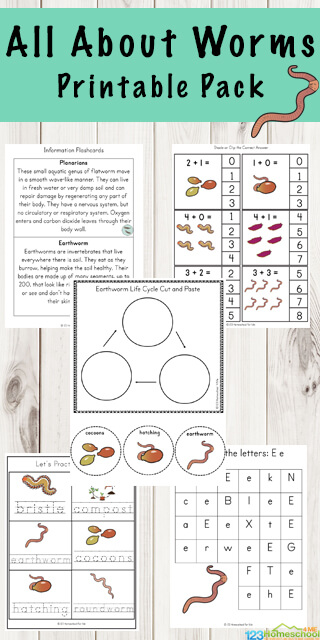 FREE All About Worms Printable Pack - kids will have fun practicing math and literacy skills while learning about worms and their life cycle. Perfect for preschool, kindergarten, and first grade kids #worms #preschool #worksheetsforkids