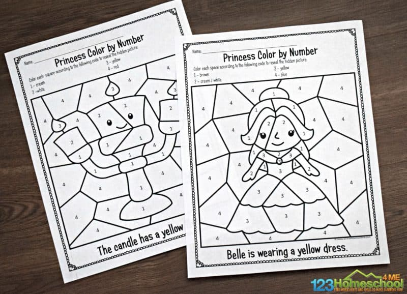 preschool and kindergarten age kids will have fun practicing number recognition with these beauty and the beaste themed Color by Number Printable