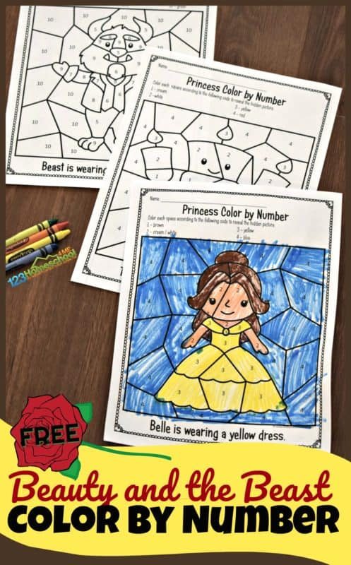 FREE Beauty and the Beast Color by Number Worksheets - preschool, prek, and kindergarten age kids will have fun working on number recognition with these printale freebie! Not only does this math activity for preschoolers help work on preschool math, but it is great for strengthening fine motor muscles too! Perfect for teachers, parents, and homeschoolers.