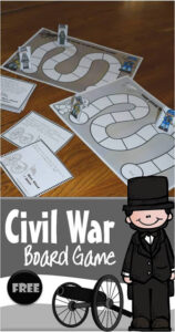 civil war for kids free printable board game