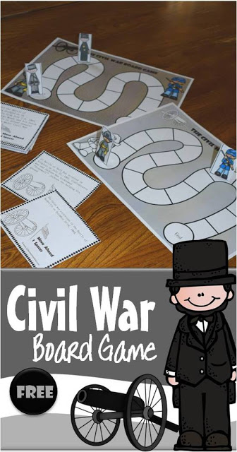 Are you learning about the American Civil War for kids? This free printable civil war games for kids board game is a fun way to review what you've been learning about American History. This fun, hands on free printable game is a great way to get 3rd grade, 4th grade, 5th grade, 6th grade, 7th grade, and 8th grade students excited about learning US history! We love making history fun with our history lessons!