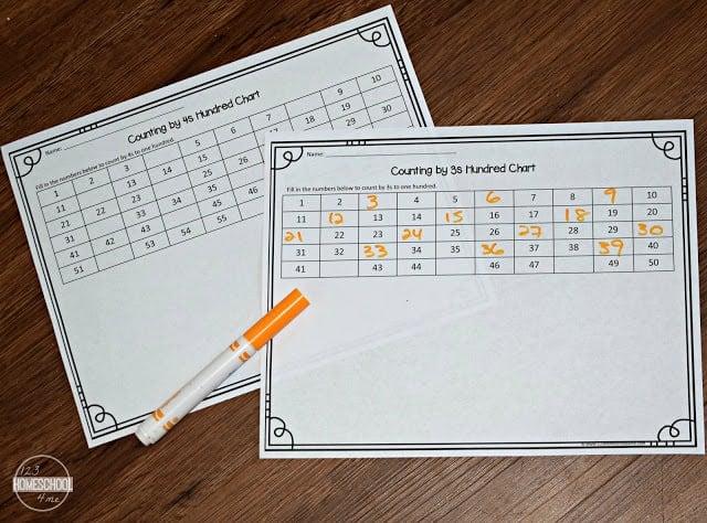 free printable Skip Counting Charts to practice counting by 1s, 2s, 3s, 4s, 5s, 6s, 7s, 8s, 9s, 10s, 11s, 12s, 13s, 14s, and 15s