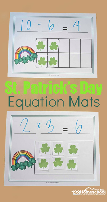 Sneak in some fun St Patricks Day Math with these fun Equation Mats to practice addition, subtraction, and multiplication. These St Patricks Day printables are a fun St Patricks Day Activities for kindergarten, first grade, 2nd grade, 3rd grade, and 4th grade students. Simply download pdf file with free st patricks day printables and you are ready to play and learn with this st patricks day math activities.