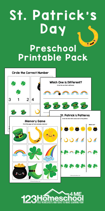 FREE St Patrick's Day Printables - free printable st patricks day worksheets for preschool students to have fun practicing what comes next, which is different, counting, and play a St Patricks theme memory game #preschool #stpatricksday #freeworksheets