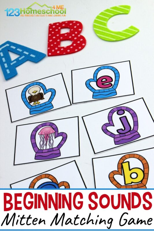 FREE Beginning Sounds Mitten Matching Game - preschool, prek, and kindergarten age kids will have fun practicing alphabet letters and their sounds with this abc game that works on beginning sounds, phonemic awareness, and introduction to phonics for kids with an educational, winter themed activity for kids #beginningsounds #literacy #prek #kindergarten #winteractivity