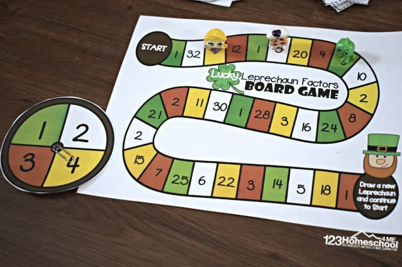 free printable factors game makes learning what is factors fun for 4th grade students to play in march on st patricks day