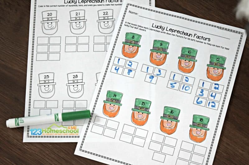 super cute leprechaun themed fourth grade math worksheets to make learning about factors fun for 4th grade math