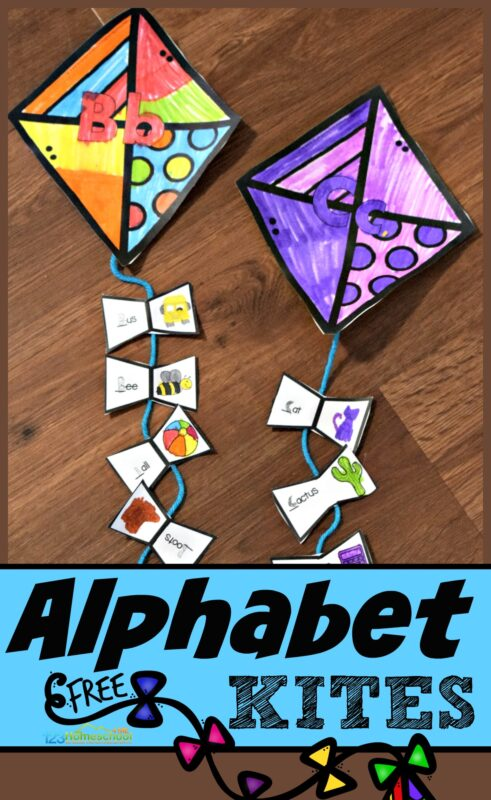 This super cute, alphabet craft is a fun way for kids to practice identifying the letters words start with (beginning sounds) and to make a funspring crafts for kindergarten too! Children will color their paper kite craft and then attach the correct tassles with pictures with the same initial sound. This letter sounds activity is great for children learning their letters as a kindergarten spring craft. This alphabet activities for preschool, toddler, pre-k, and kindergarten makes a cute spring craft for kids or summer craft project. Simply download pdf file with kite printable and you are ready to play and learn!
