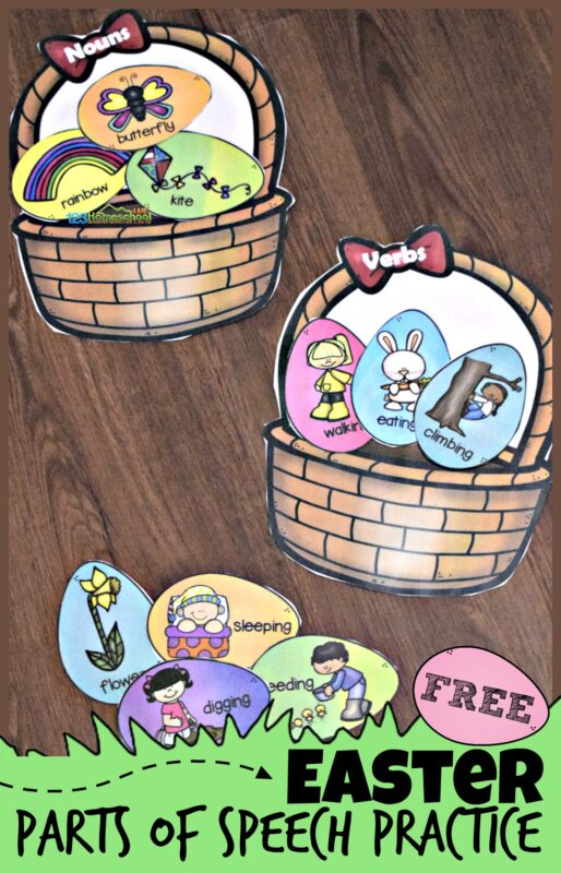Looking for a fun way to sneak in some learning around Easter? ThisEaster Activity for Kids is perfect for Easter school. Children in 3rd grade, 4th grade, 5th grade, and 6th grade will have fun practicing sorting parts of speech by putting the noun, verb, and adjective easter eggs in the correct part of speach baskets. Simply download pdf file with Easter printables to make learning more engaging than using an Easter Worksheet.