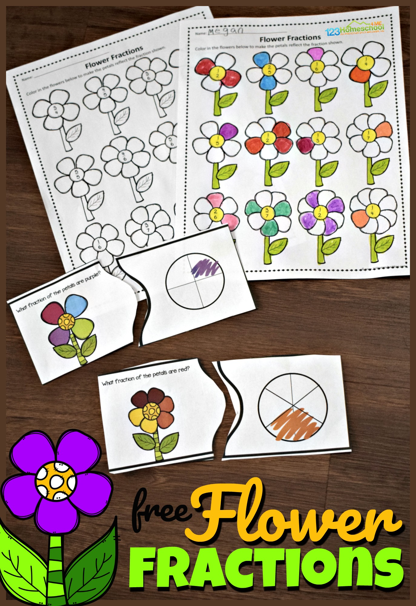 FREE Flower Fractions - kids will have fun learning bout fractions with these super cute, spring themed fraction worksheets and fraction puzzles. #fractions #homeschooling