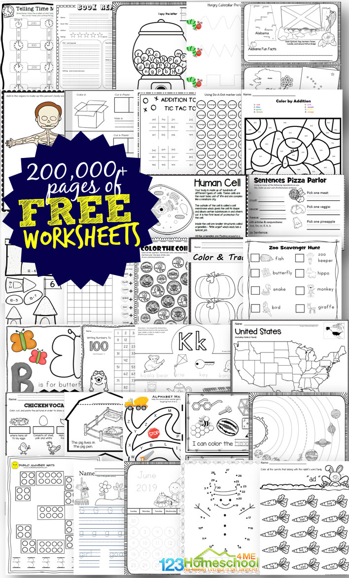 FREE Homeschool Worksheets - over 300,000 pages of free worksheets and educational printable for preschool and K12. Includes alphabet worksheets, abc games math worksheets, math games, science printables, history games, and more! #freeworksheets #homeschooling #freeprintables #homeschool #education
