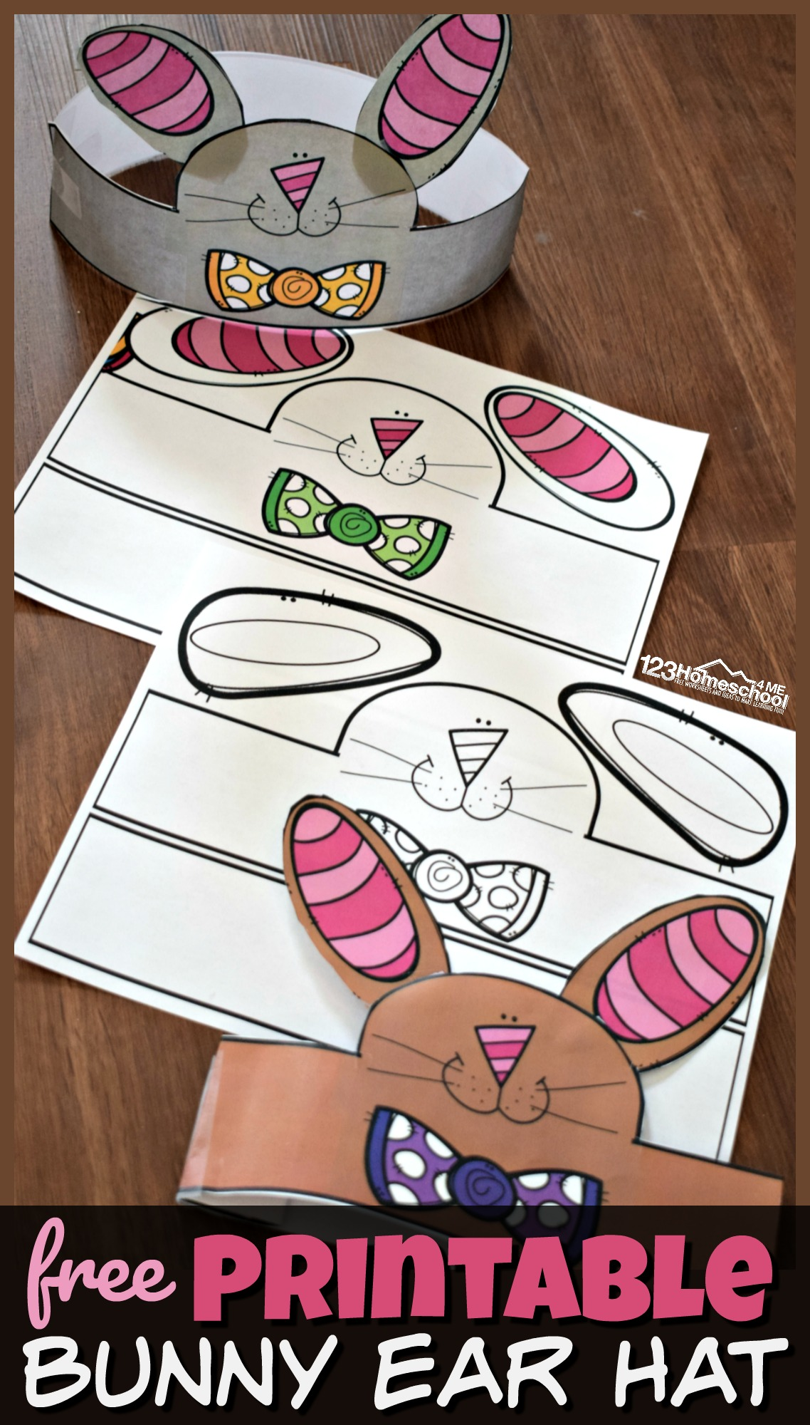 FREE Printable Bunny Ear Hat - this LOW PREP Easter Craft for Preschoolers make a fun spring activity for toddler, preschool, kindergarten age kids and more! #easter #craftsforkids #preschool