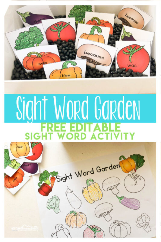 FREE Sight Word Garden - this is such a fun, clever sight word activity to help preschool and kindergarten age kids practice reading with a fun spring, garden theme. #sightwords #preschool #kindergarten
