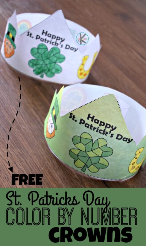 FREE Color by Number St Patricks Day Hats