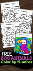 free printable color by number worksheets with a fun zoo animals theme - fun preschool math actiity for mumber recognition