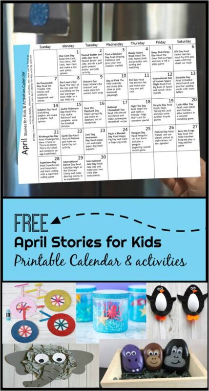 April Stories for Kids with FREE printable activity calendar - loots of great book recommendations for toddler, preschool, kindergarten, and elementary age kids based on seasonal, fun days, holidays and more. Each book recommendation comes with a book activity recommendation #bookrecommendation #storiesforkids #monthlyactivitycalendar