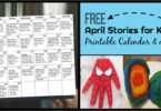 Download April book recommendation printable activity calendar