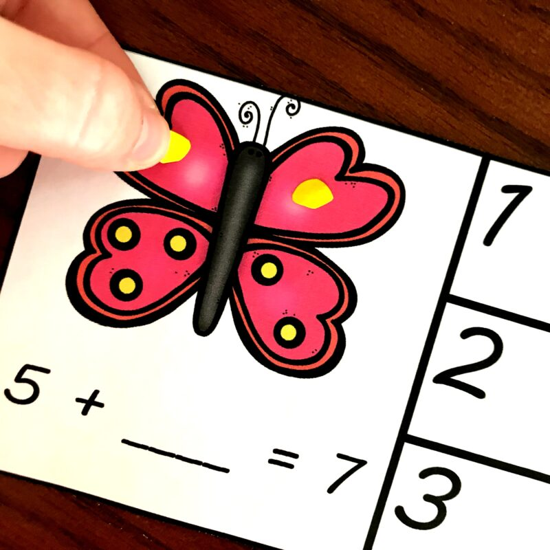 Butterfly addition practice using manipulatives like playdough or paper squares