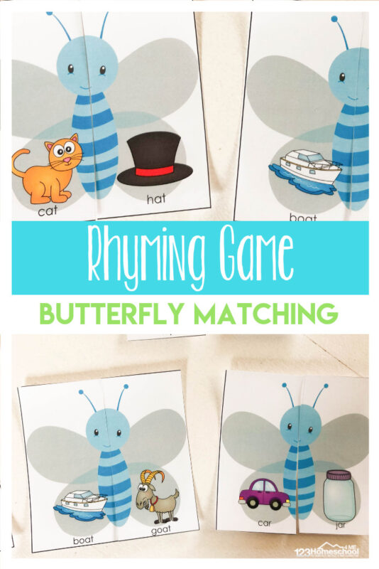 FREE Butterfly Rhyming Games - this is such a fun spring literacy game to work on rhyming with preschool, kindergarten, and first graders. #rhyming #kindergarten #educationalspring