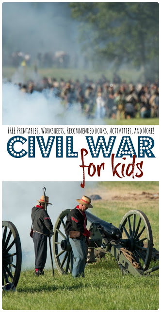 Help kids learn about The Civil War with this fun, hands on unit and civil war lesson plans including civil ward for kids mini book, famous people in the civil war flip book, and civil war worksheets for kids. This unit is idea for homeschoolers, 3rd grade, 4th garde, 5th grade, 6th grade, 7th grade, and 8th grade students.