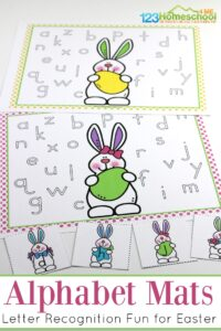 FREE Easter Alphabet Mats - these are such a fun free printable preschool and kindergarten activity to work on lowercase letter recognition with a cute Easter bunny themed activity #letterrecognition #easter #alphabet