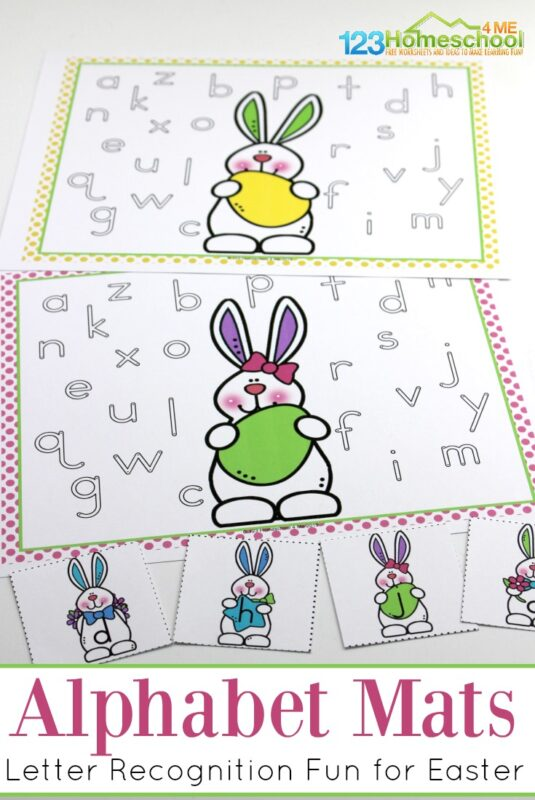 Kids will have fun practicing matching lowercase letters with these super cute easter alphabet activities. Use this funeaster activities for kindergartners as part of yourEaster theme with preschool, pre-k, and kindergarten age children. The combination ofEaster worksheets and alphabet cards combine to make a fun way to work on letter recognition with children! Simply download pdf file withfree easter printables and you are ready to play and learn!