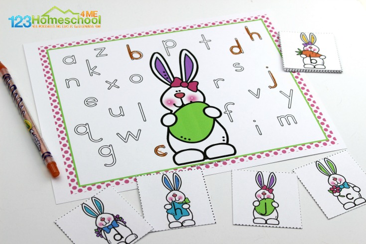 Adorable Easter Bunny Lowercase alphabet activity for preschoolers and kindergartners