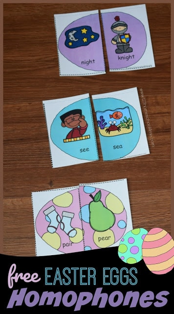 FREE Easter Egg Homophones Games - this is such a fun easter themed hands-on, free printable literacy activity for 1st grade, 2nd grade, and 3rd grade students #homophones #literacy #easter