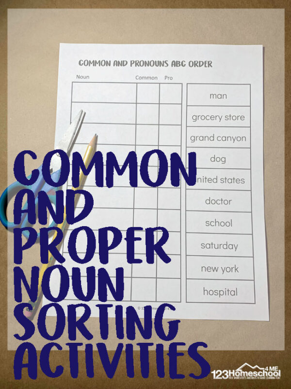 FREE Common and Proper Noun Sorting Activities - LOW PREP and fun parts of speech activity for first grade, 2nd grade, and 3rd grade students. #nouns #propernouns #partsofspeech