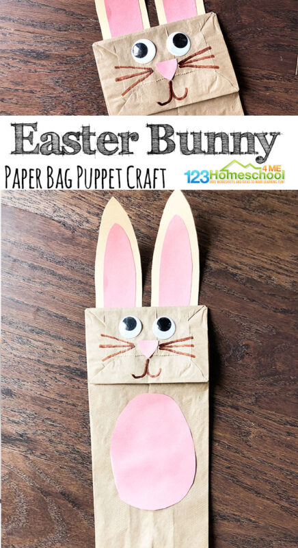 Today we are sharing an adorable paper bag bunny puppet, just in time for Spring!. We always have paper bags and colored paper on hand, so this is an east craft to do without much planning. Use this cute bunny paper bag puppet to put on a puppet show or act out Easter and Spring books or songs for an extra fun time! This spring craft for toddler, preschool, pre-k, and kindergarten age children is sure to be a hit with kids. Adults will love it is a super easy bunny craft!
