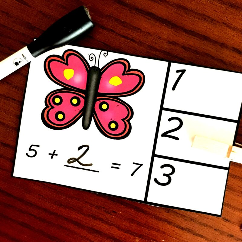 Use clothespins to clip the correct answer on these butterfly math cards