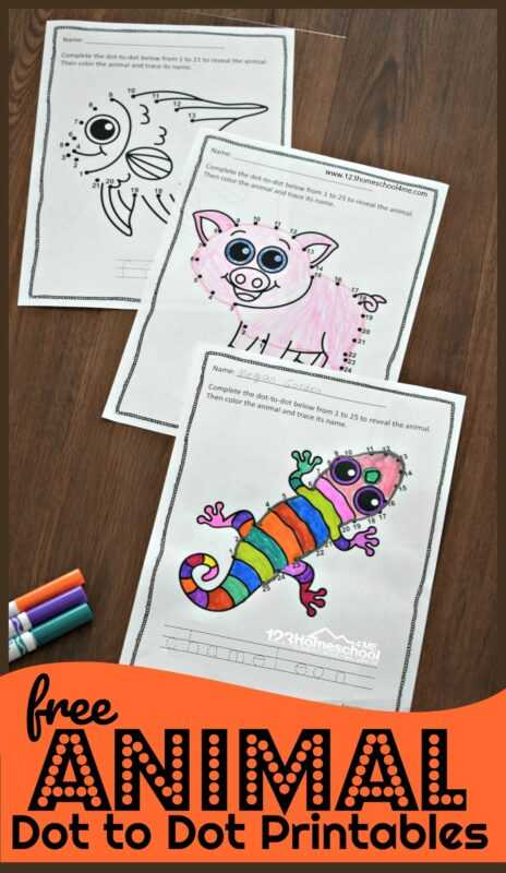Kids will have fun practicing counting to 20 with these super cute Dot to Dot Printables. As toddler, preschool, pre-k, and kindergarten children count to 20 they will create some super cute animals with these free dot to dot printables. Simply download pdf file with animal dot to dot printables and get ready for a cute animal activity using free counting printable!