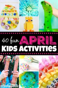 40 fun April Kids Activities! So many fun spring activities including frogs, rainbows, rain, easter, and more! #kidsactivities #spring #preschool
