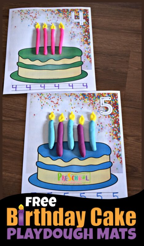 FREE Birthday Candles Playdough Mats - super cute, hands on math activity to help toddler, preschool, prek, and kindergarten age kids practice counting to 10 #counting #playdoughmats #preschool