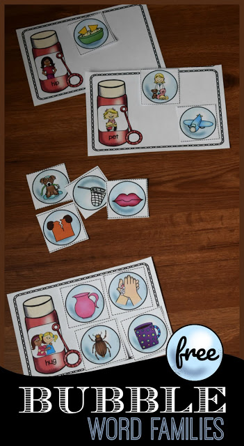 Bubble Word Family sorting activity