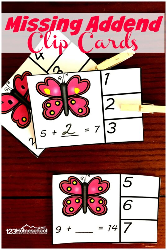 FREE Butterfly Missing Addend - these free printable math clip cards are a fun addition practice activity for kindergarten and first grade kids. #mathgames #addition #kindergarten