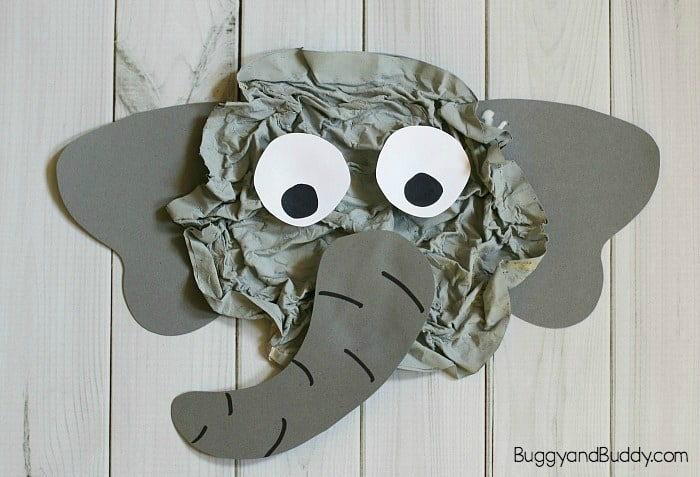 Super cute crumbled paper elephant craft for elephant day