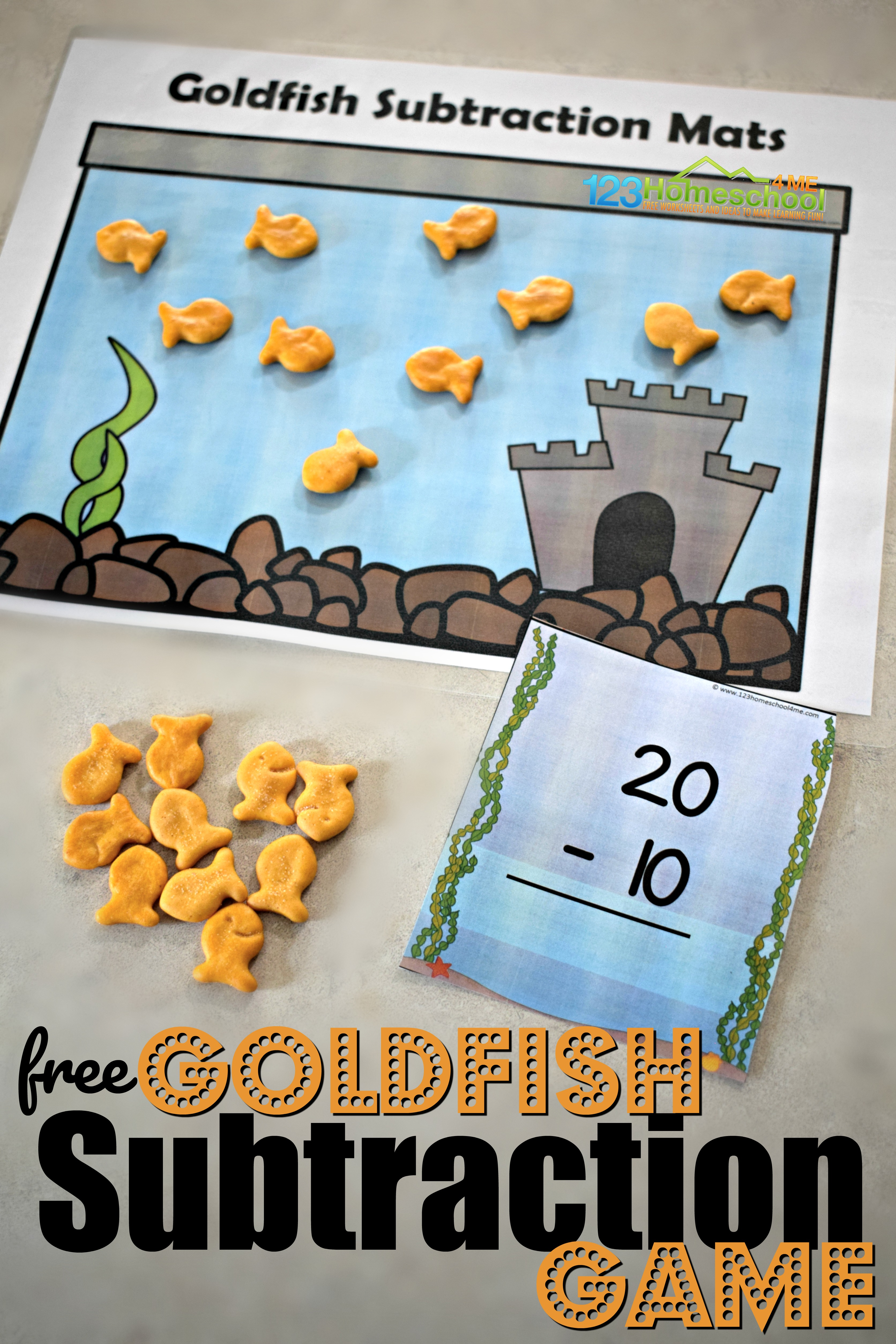 Fun, hands on subtraction game using our free subtraction printable and goldfish